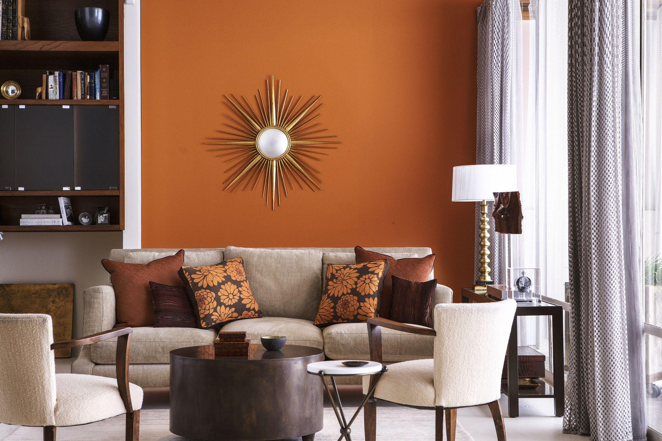 Сочетание коричневого цвета с оранжевым в интерьере