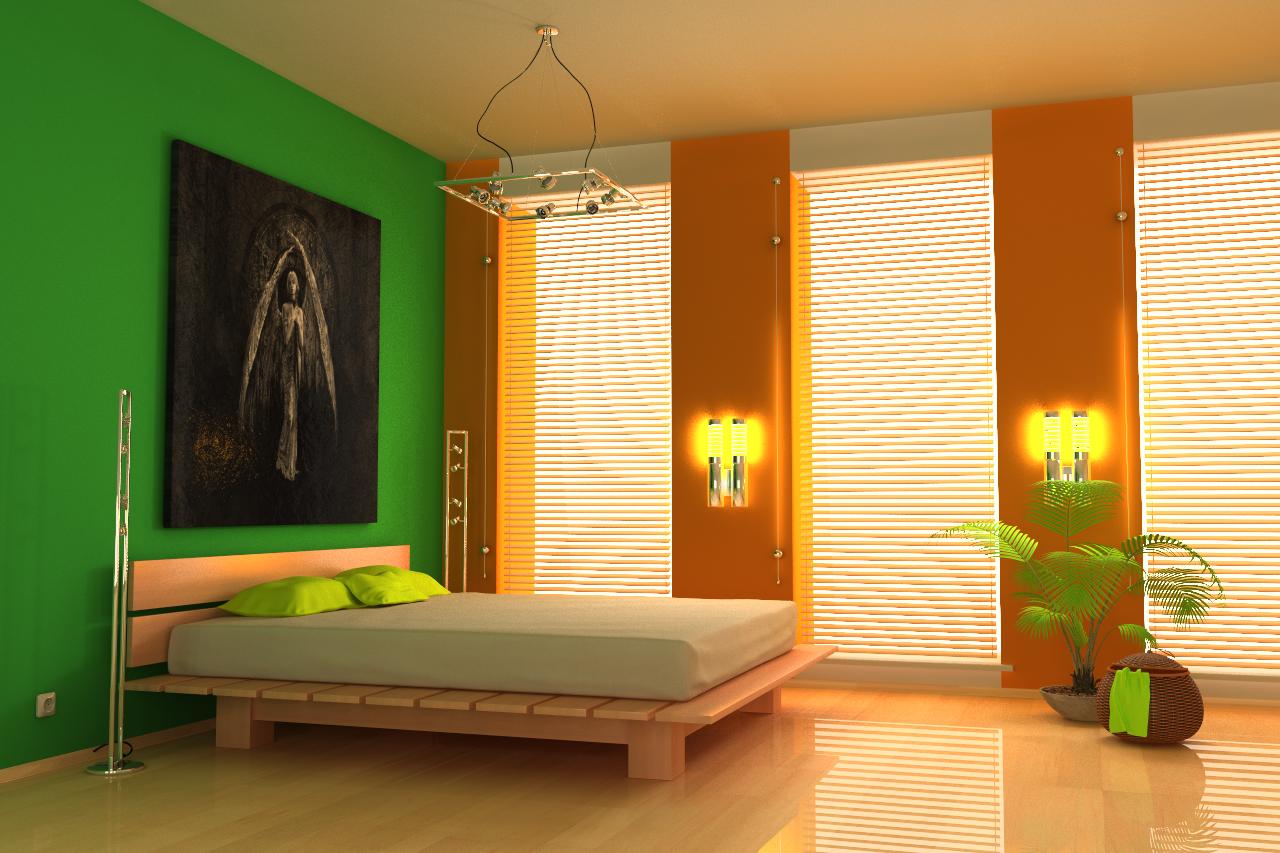 Комбинирование оранжевых и зеленых обоев в спальне