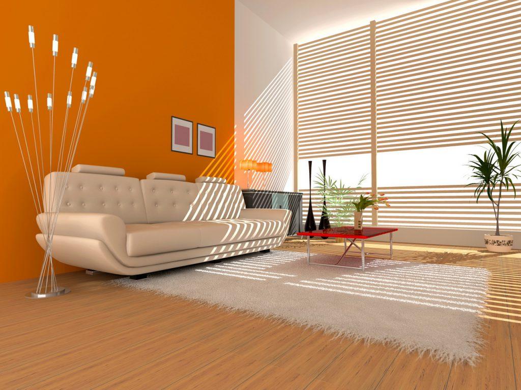 Сочетание оранжевого и белого в гостиной