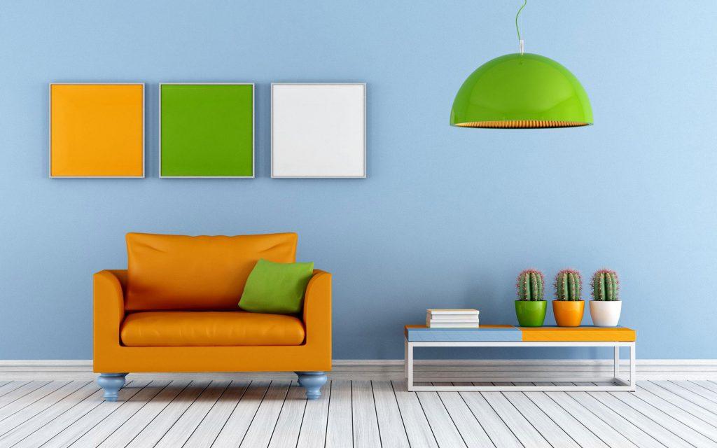 Яркие оранжевые и зеленые акценты в гостиной