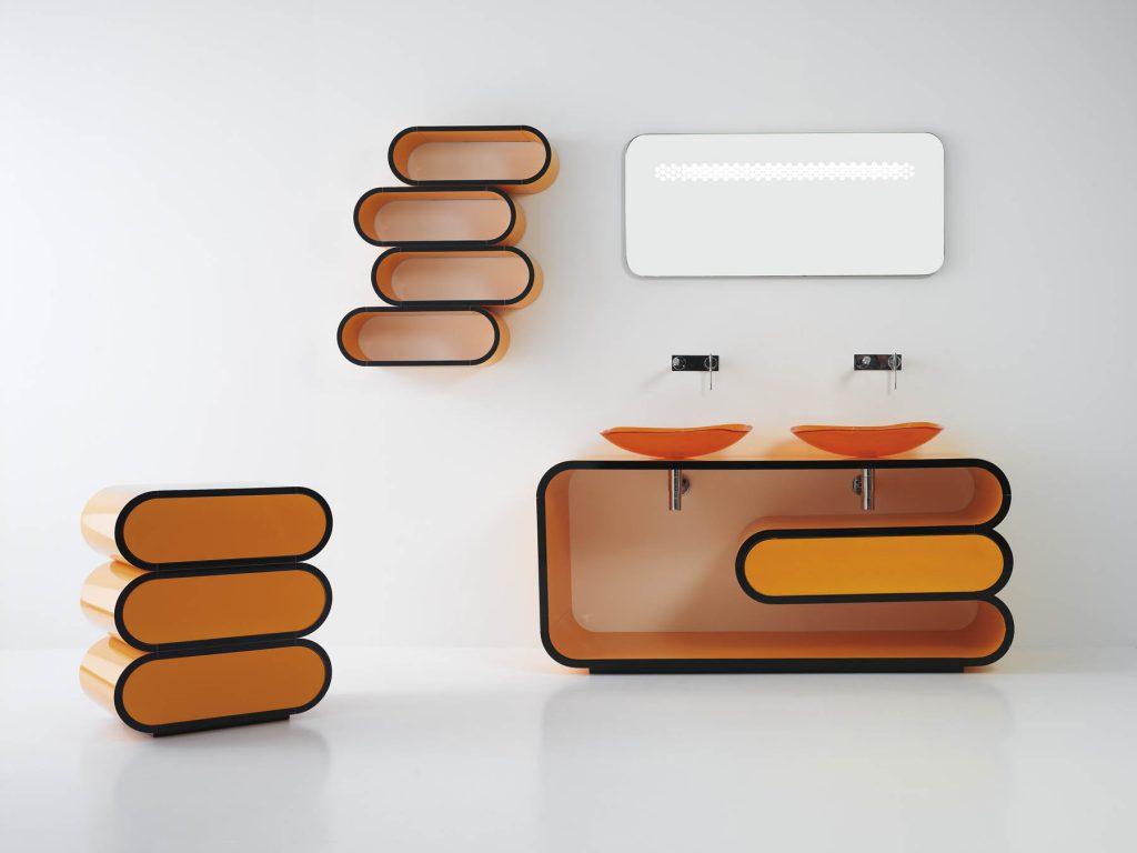 Оранжево-черная мебель в ванной
