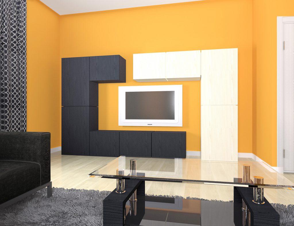 Оранжевый, черный и белый цвета в гостиной