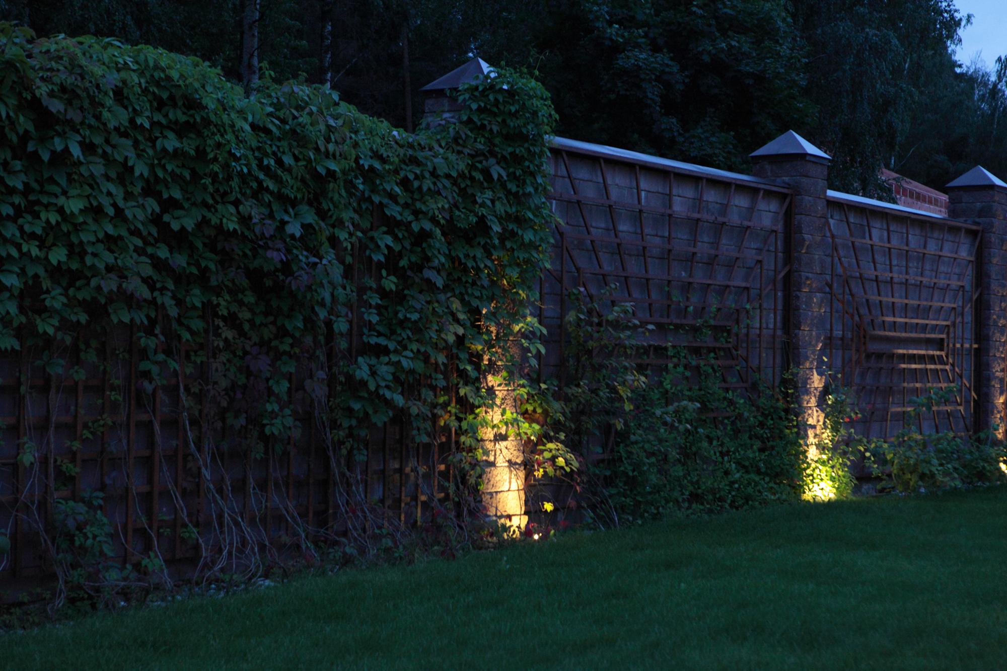 Подсветка растений и забора на участке
