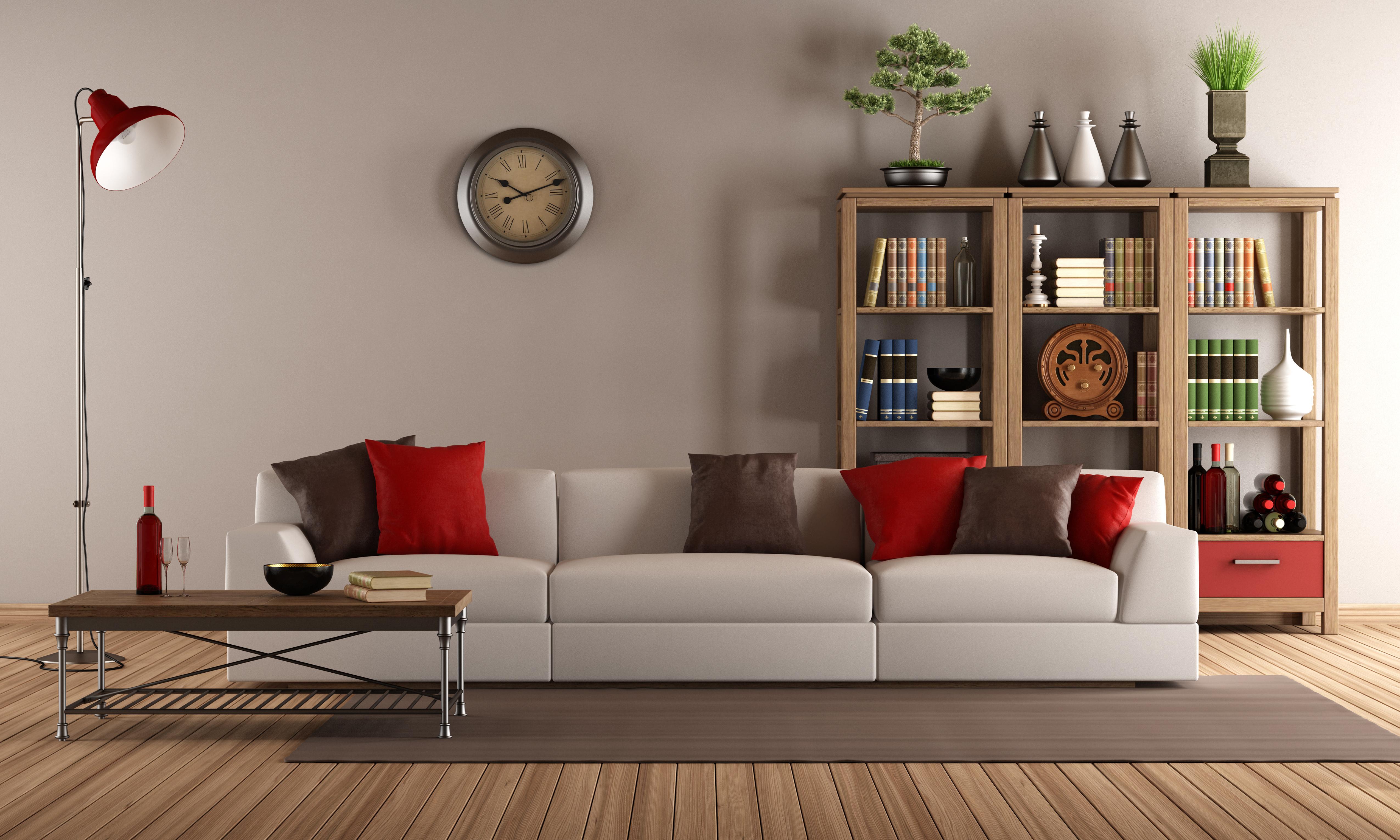 Сдержанный интерьер с декором дивана в виде подушек