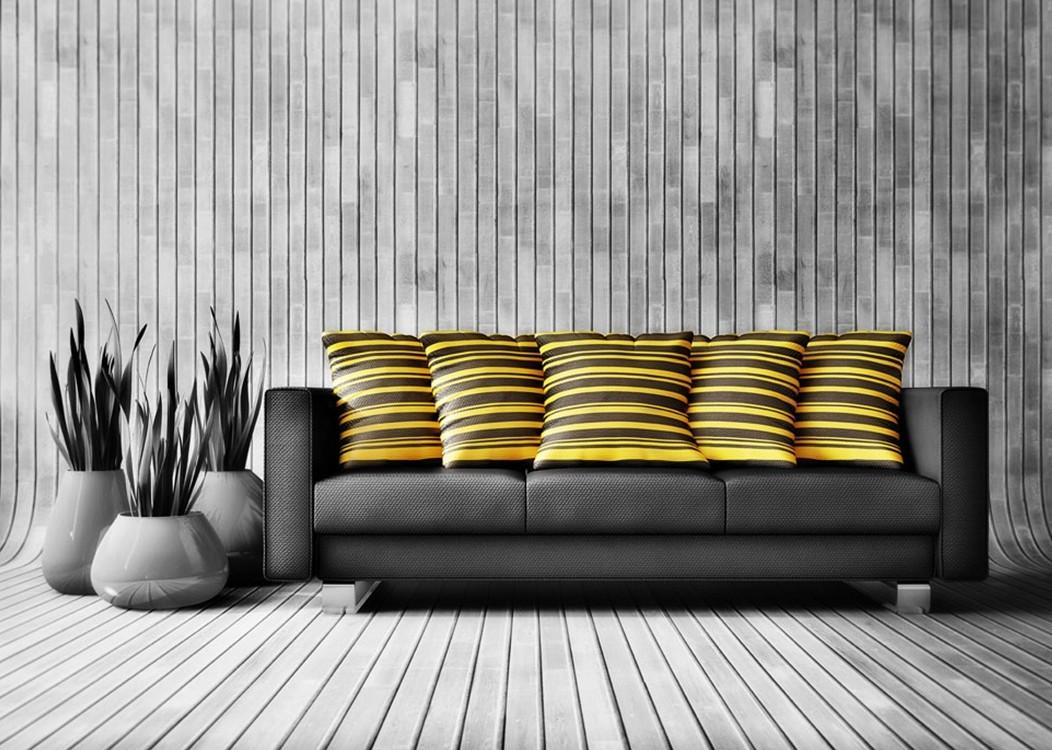 Стильный интерьер с желтыми в полоску подушками