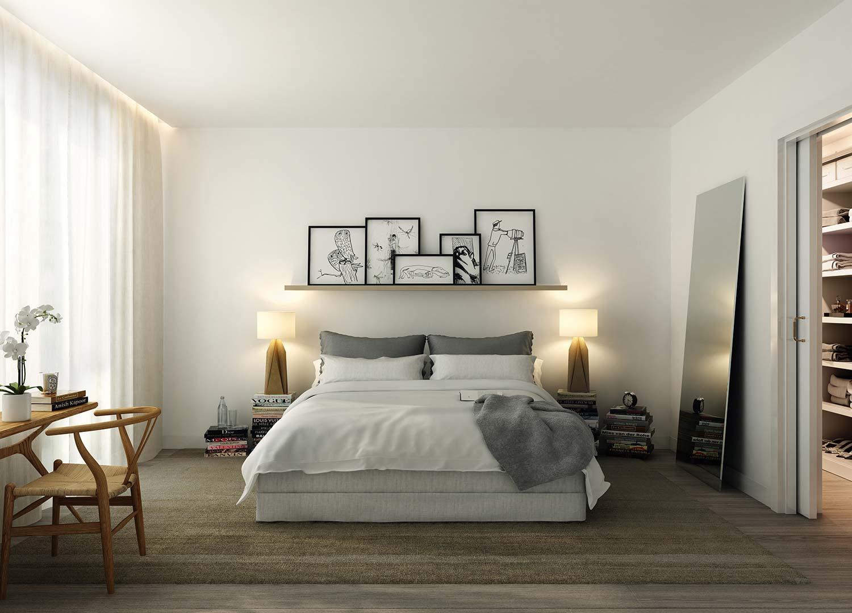 Картины на полке над кроватью