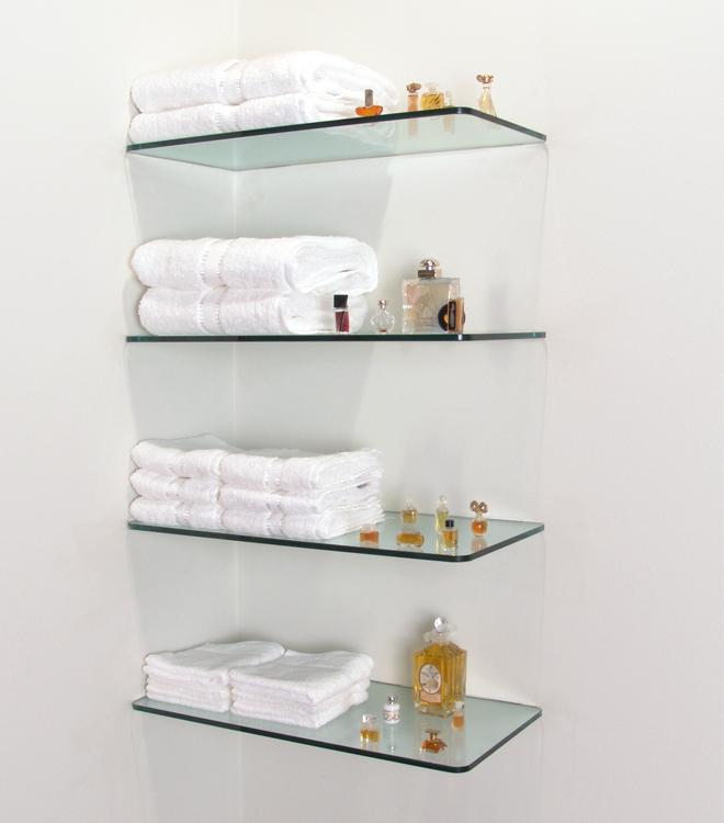 Полки из стекла для хранения косметики и полотенец