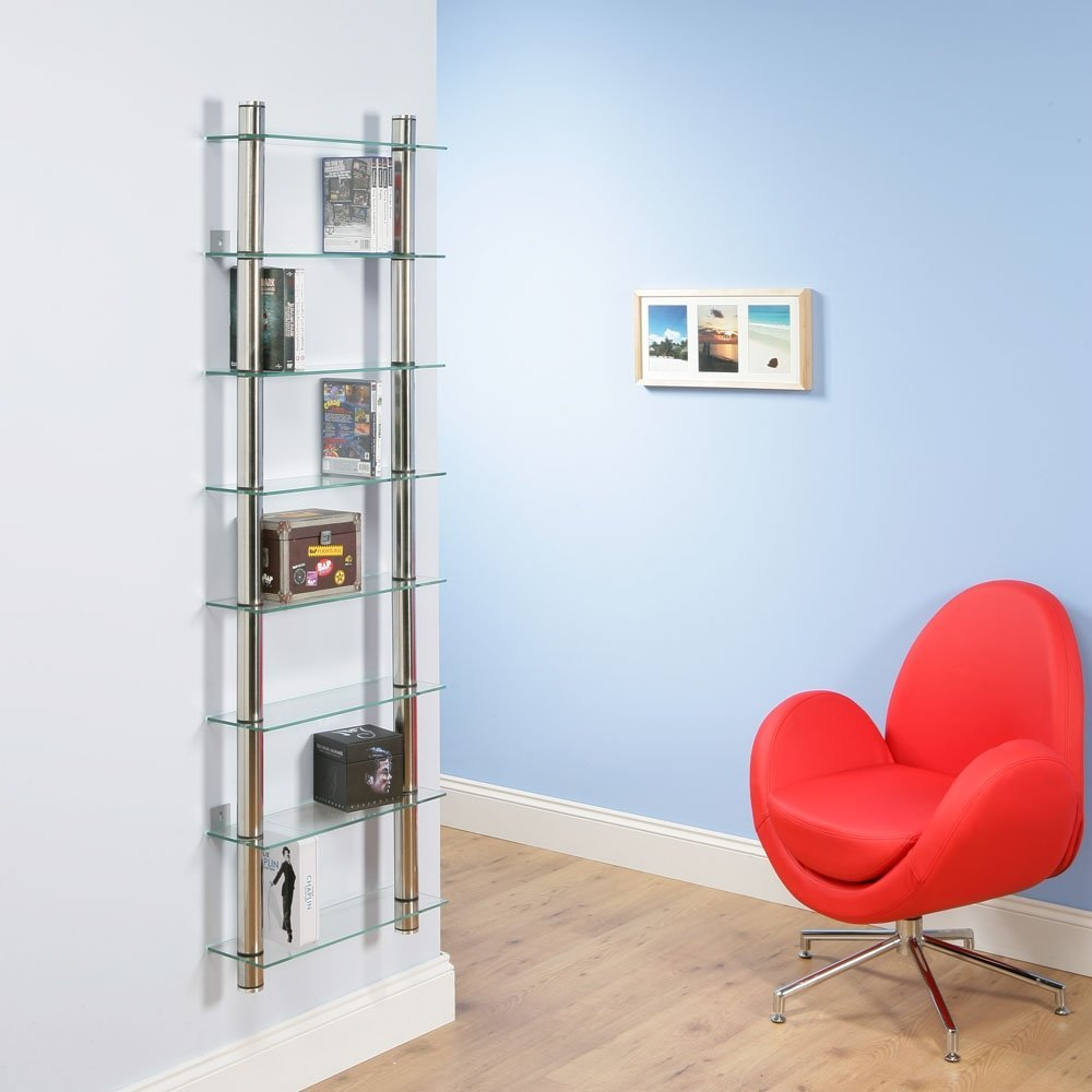 Стеллаж со стеклянными полками - под книги и рамки с фото