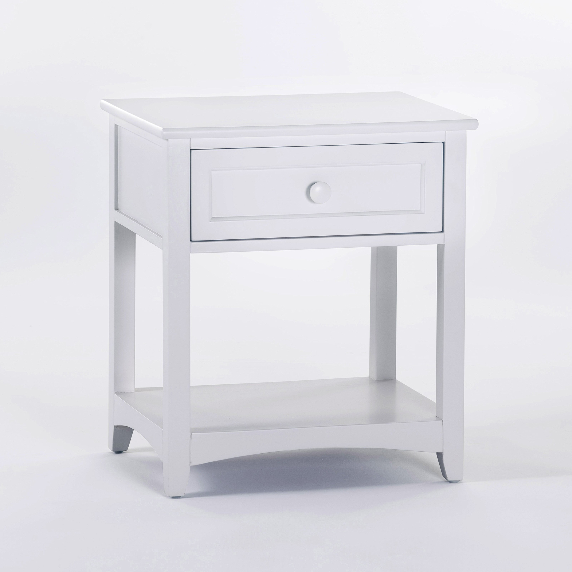Белая деревянная прикроватная тумба с ящиком