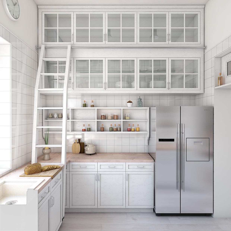 Раковина у окна на кухне с вместительными шкафчиками