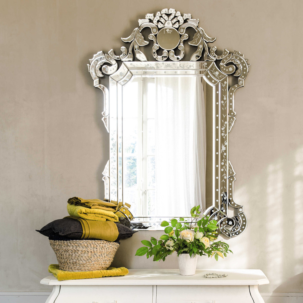 Стеклянная рама с рисунком для зеркала