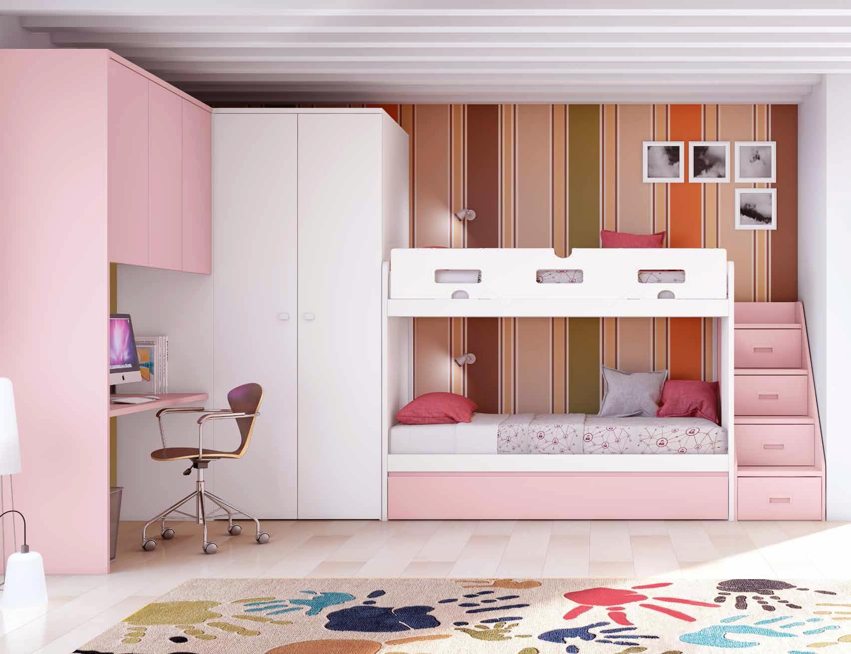 Двухъярусная детская кровать розовая
