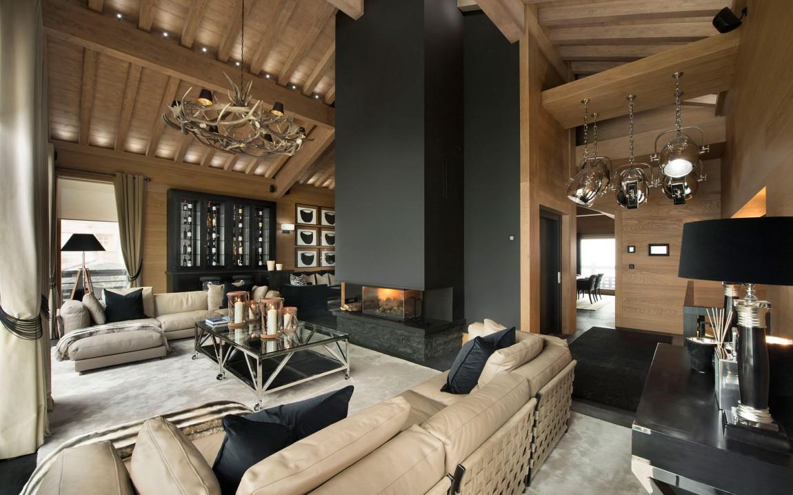 Современный интерьер в доме шале
