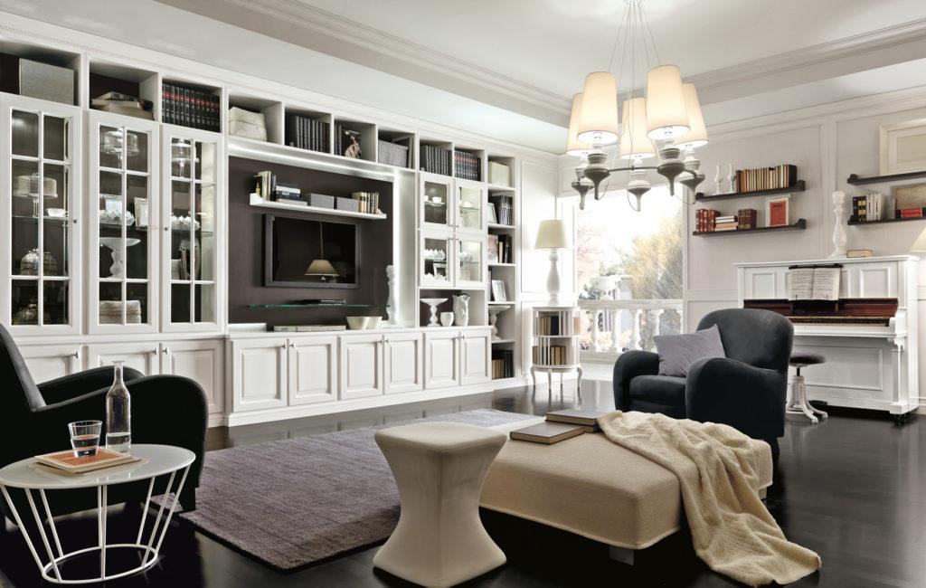 Большой белый шкаф для книг и посуды