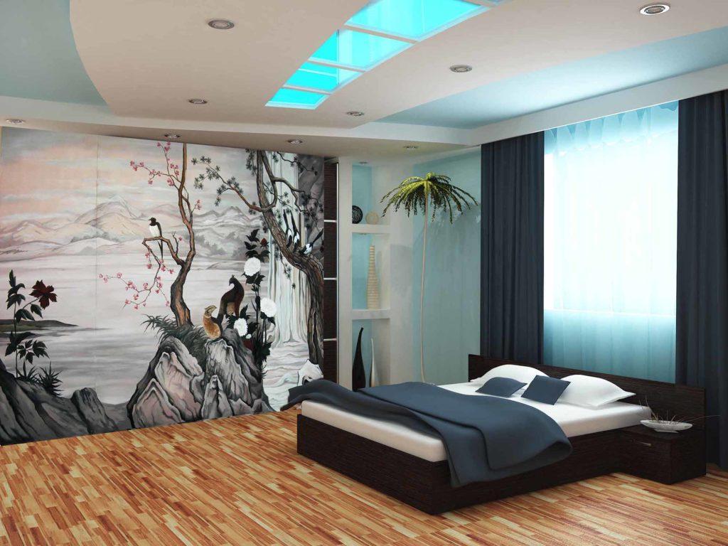 Шкаф-купе с рисунком для спальни