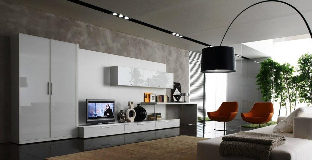 Белые многофункциональные шкафы для гостиной