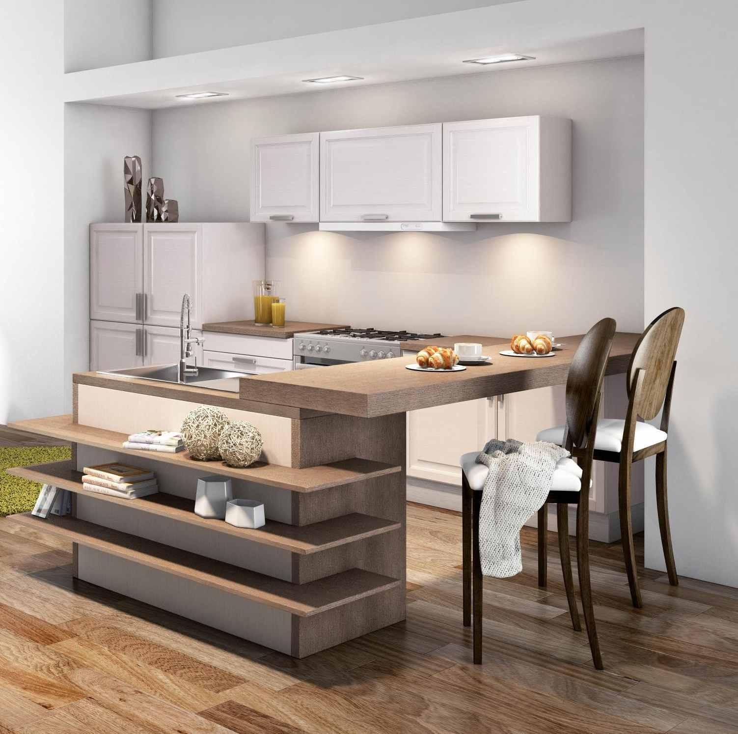 Дизайн кухни с барной стойкой шпонированной