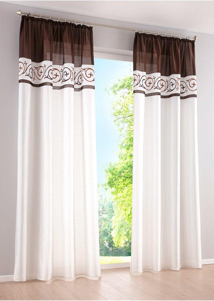 Бело-коричневые легкие шторы