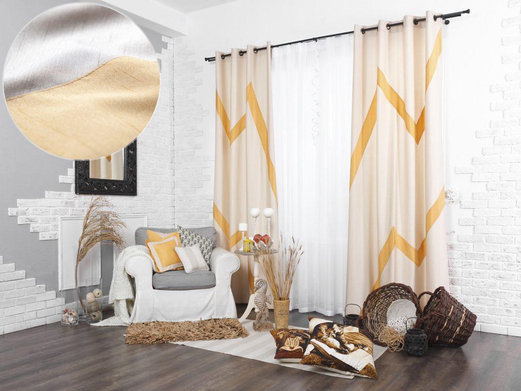Красивые кремово-оранжевые шторы в гостиной
