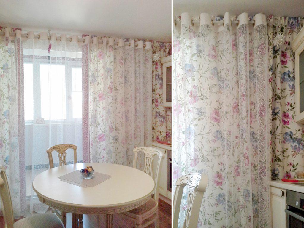 Цветочные шторы и тюль в столовой