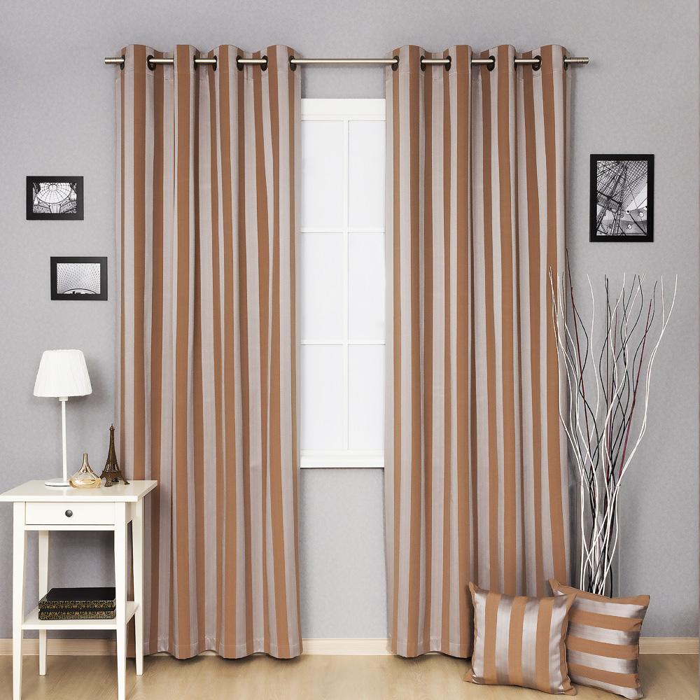Серебристо-коричневые шторы на люверсах