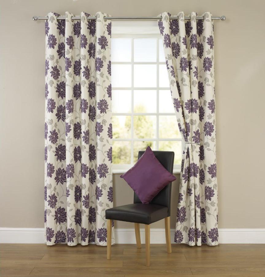 Цветочные серо-фиолетовые шторы на люверсах