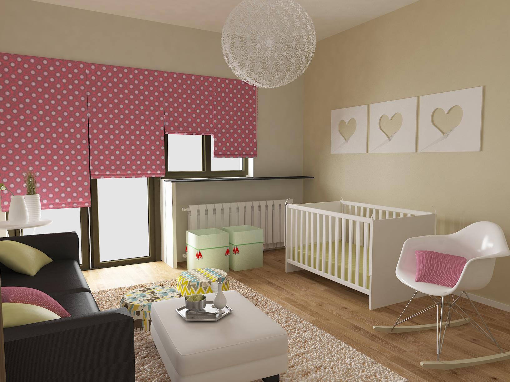 Розовые шторы в белый горошек в детской комнате