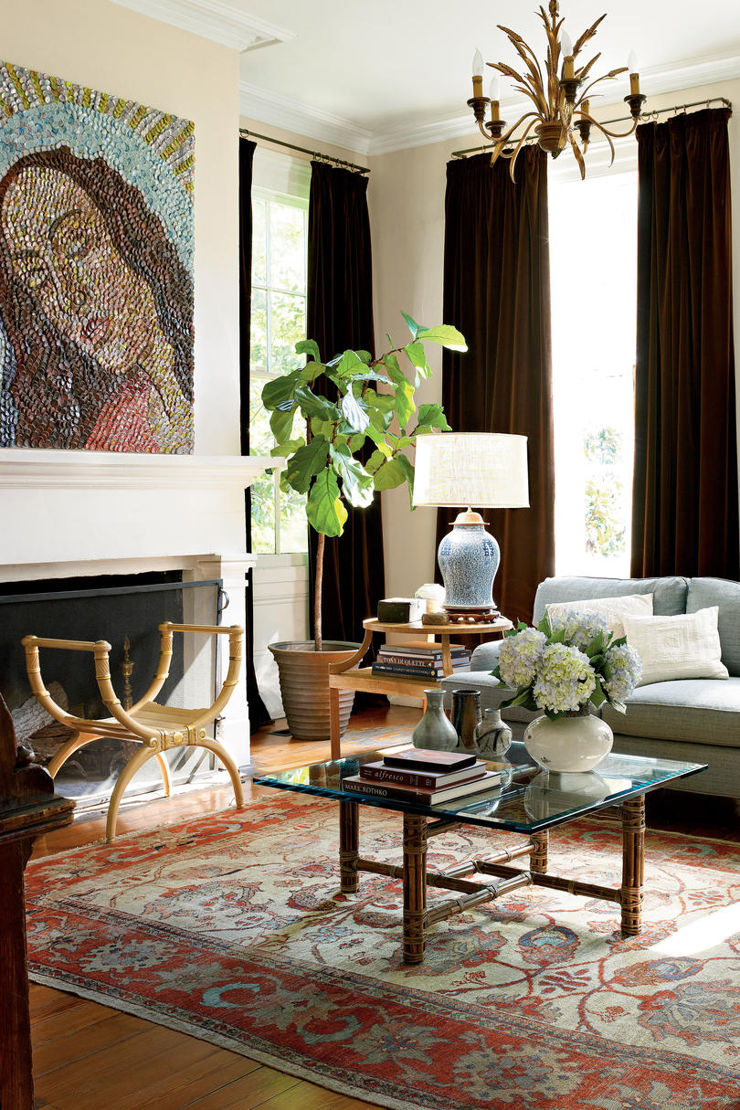 Сочетание штор коричневого цвета в интерьере