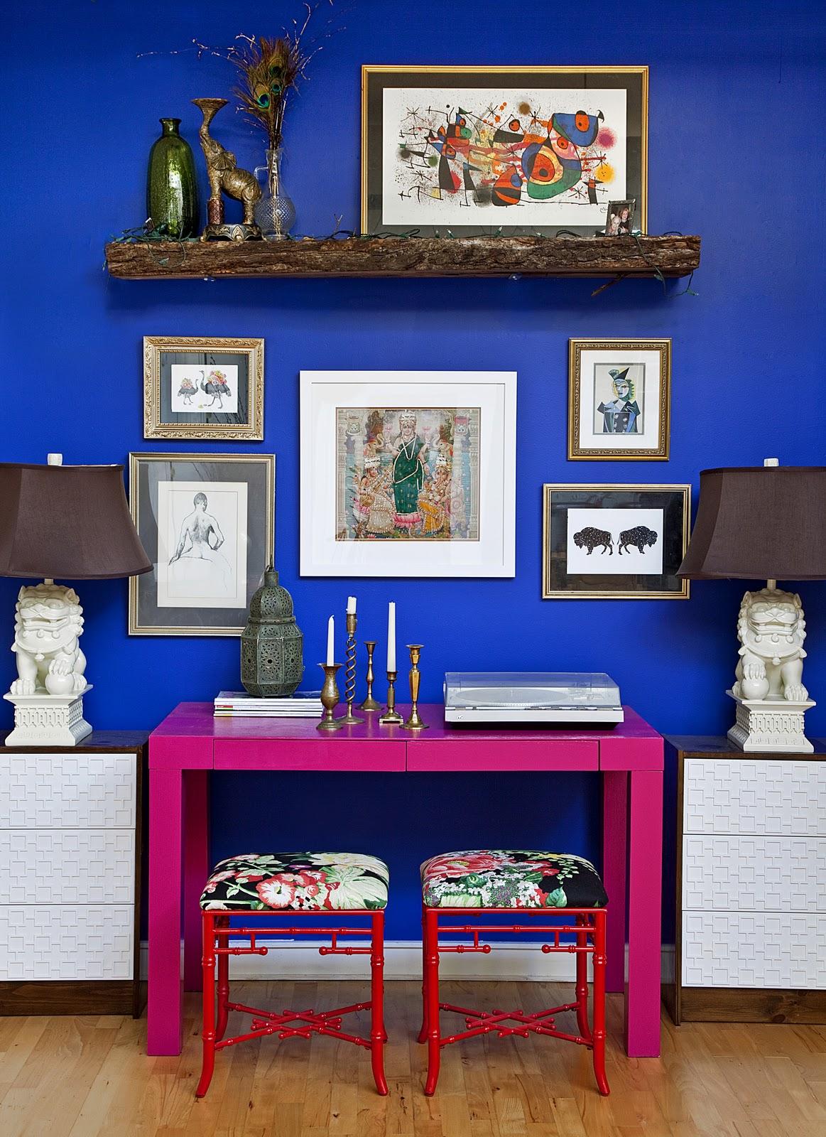 Сочетание синего и розового в интерьере