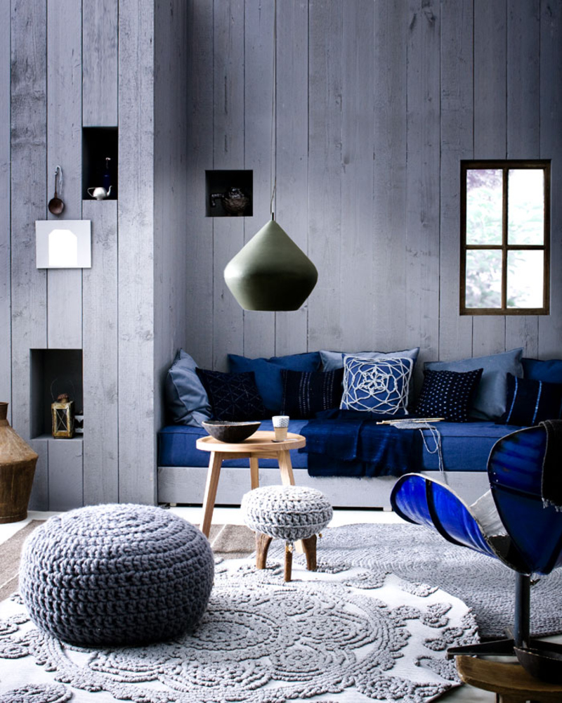 Сине-серая гостиная