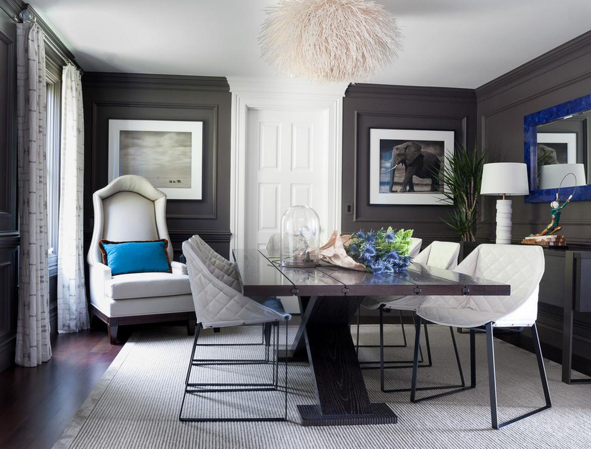 Синий, серый и другие цвета в интерьере столовой