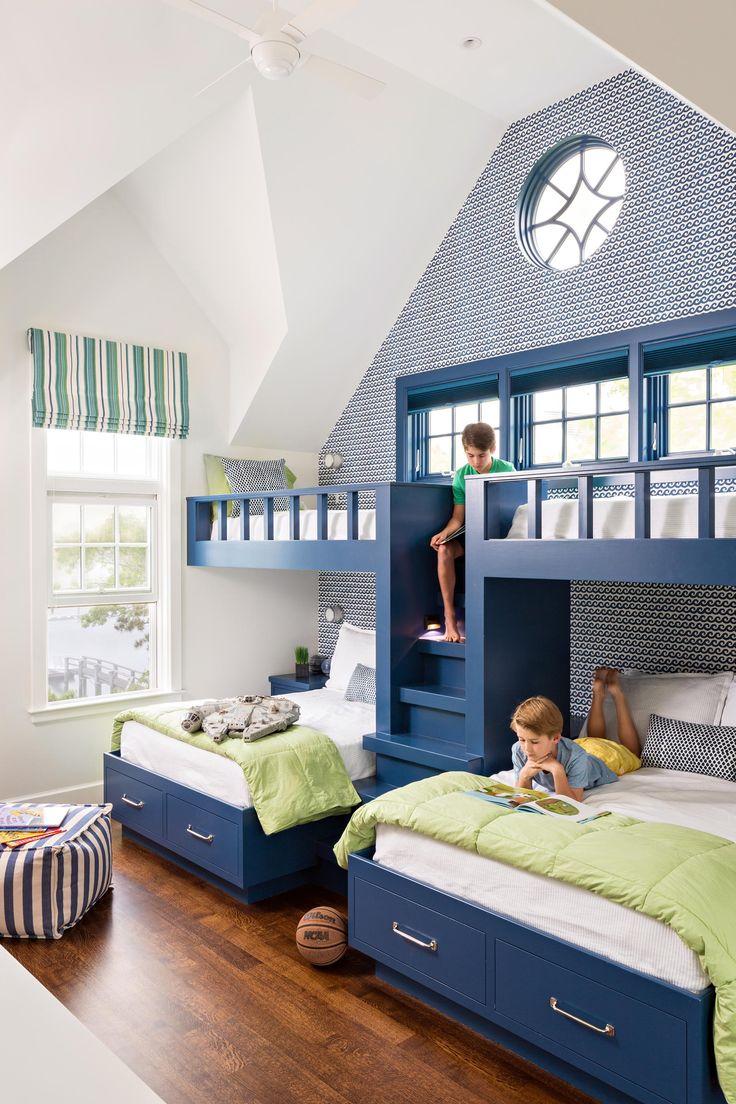 Двухъярусная детская кровать синяя