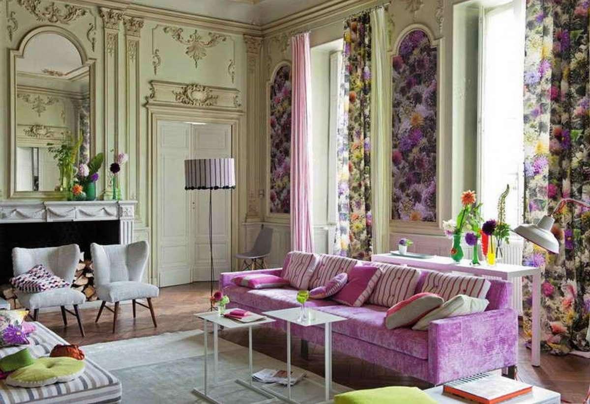 Сиреневый в классической гостиной