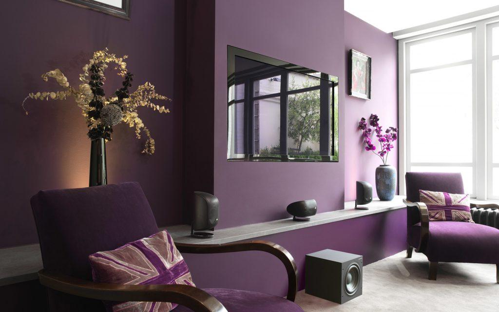 Приглушенный сиреневый цвет в гостиной