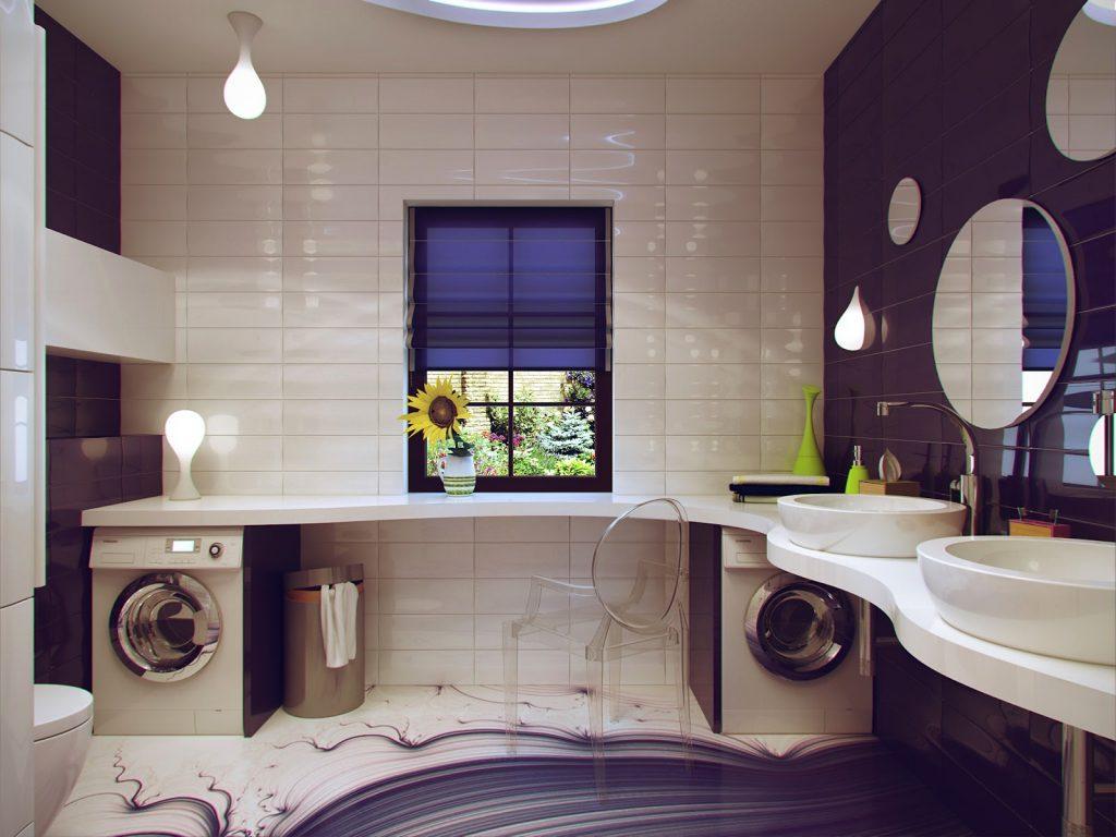 Красивая бело-сиреневая ванная комната