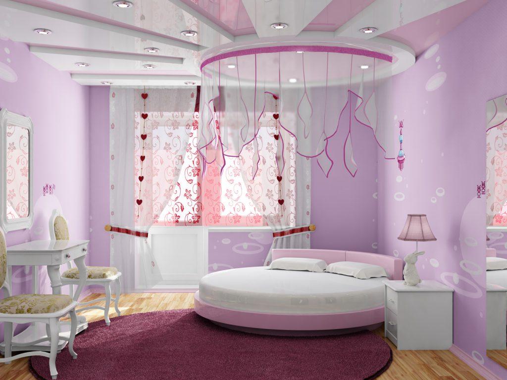 Красивая спальня для девочки в сиреневых тонах