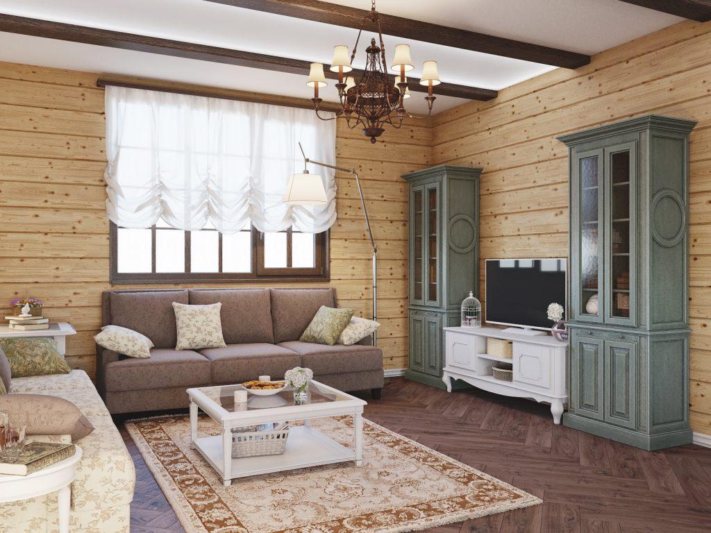Уютная гостиная с деревянной отделкой
