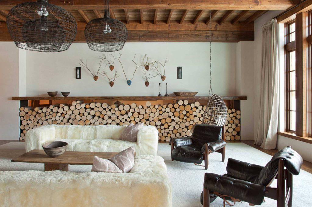 Гостиная загородного дома в скандинавском стиле