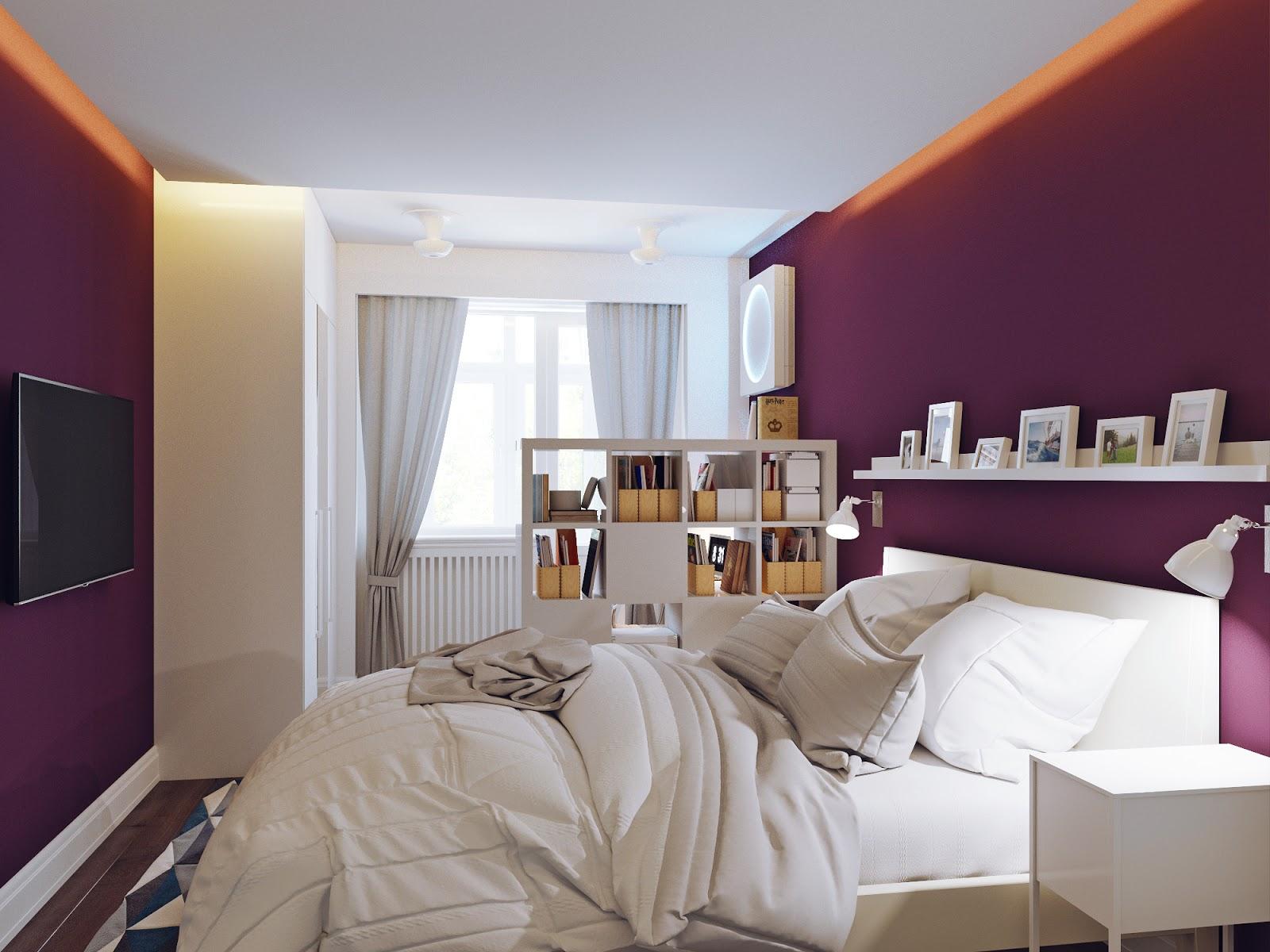 Спальня с фиолетовыми и белыми стенами