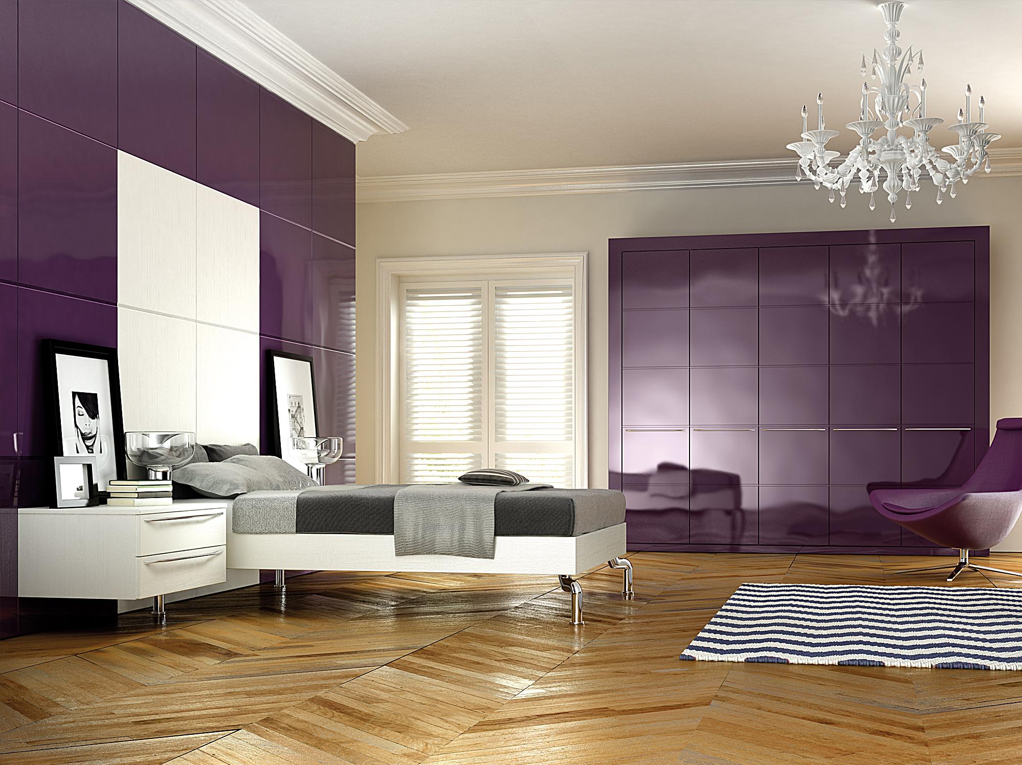 Фиолетовые стены и мебель в спальне как акценты