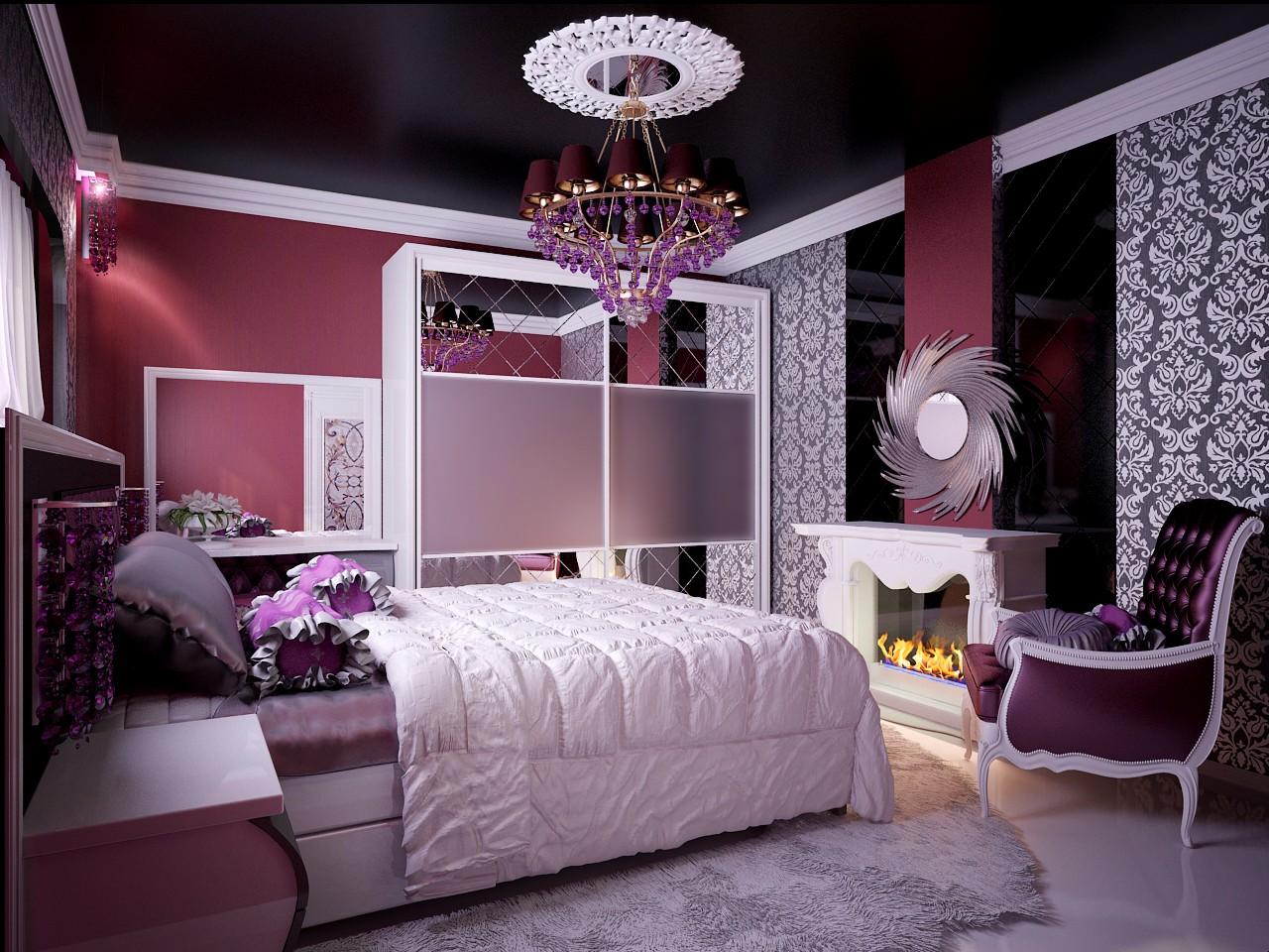 Фиолетовые акценты в спальне в стиле модерн