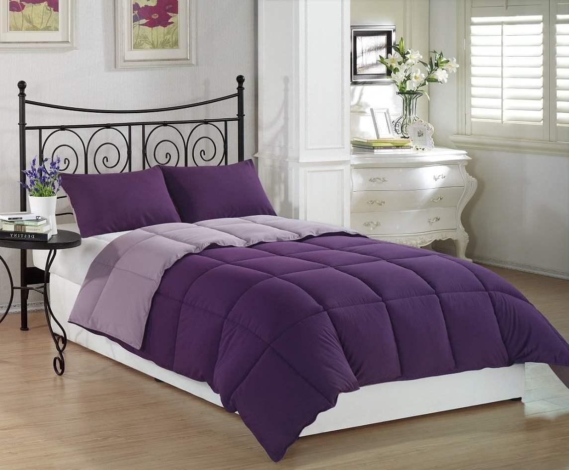 Фиолетовое постельное белье станет отличным акцентом в интерьере