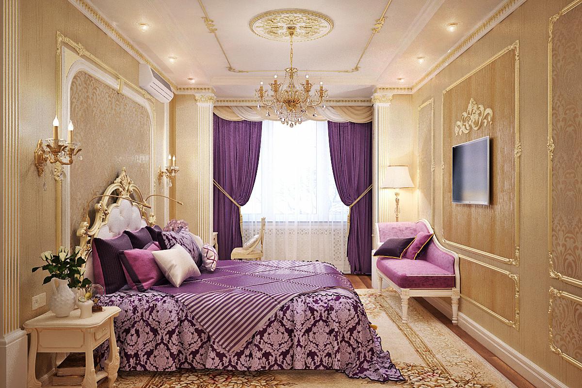 Фиолетовый и розовый цвета в золотистой классической спальне