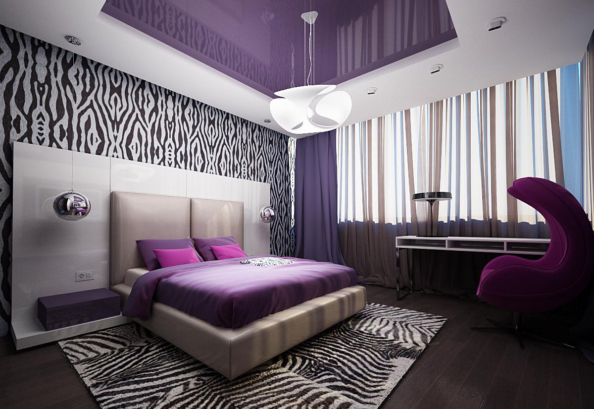 Сочетание фиолетового, черного и белого цветов в спальне