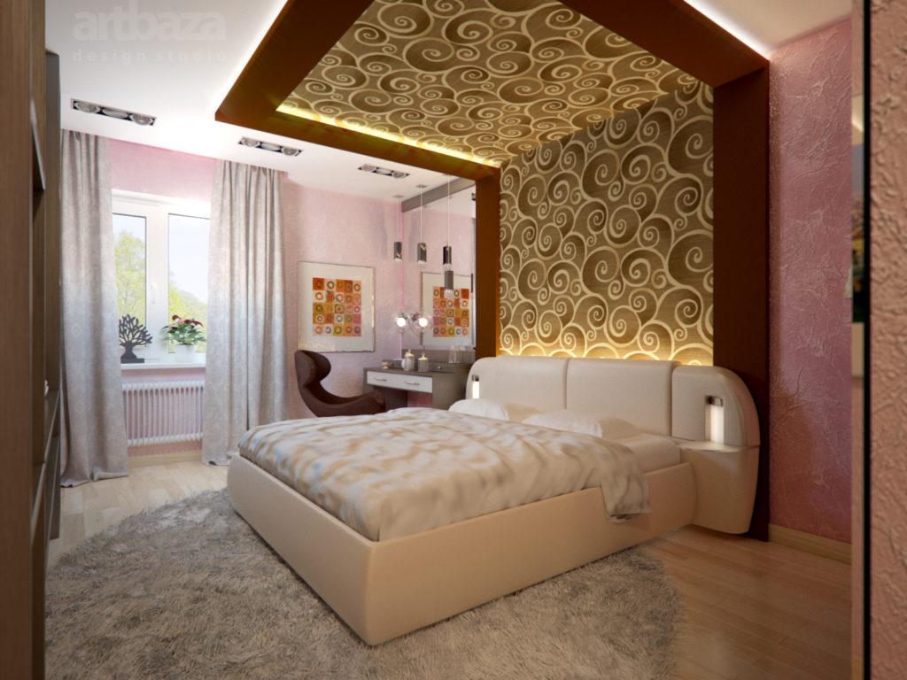 Розовые фактурные и золотистые обои в спальне