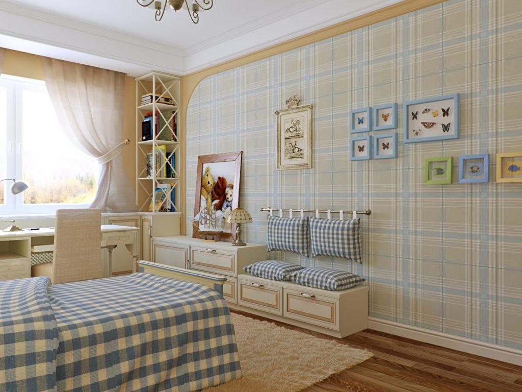Клетчатые обои спальни в стиле прованс