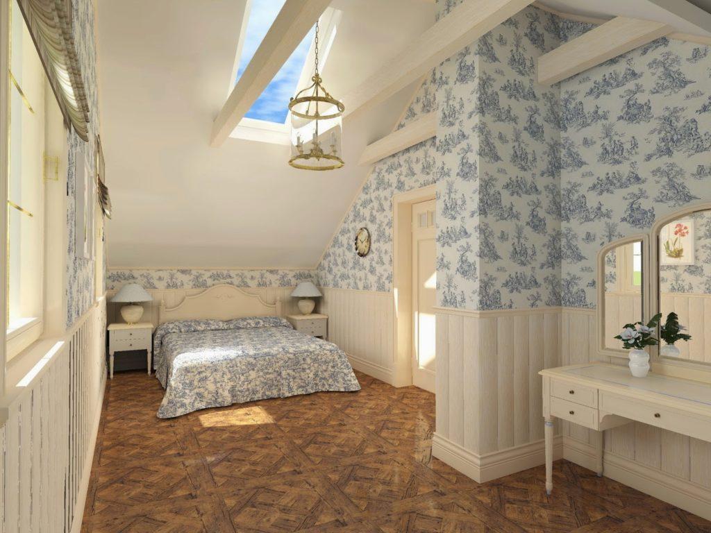 Голубые обои в спальне в стиле прованс