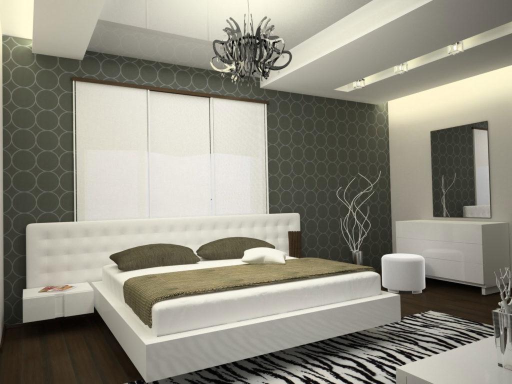 Геометрические обои в спальне в стиле хай-тек