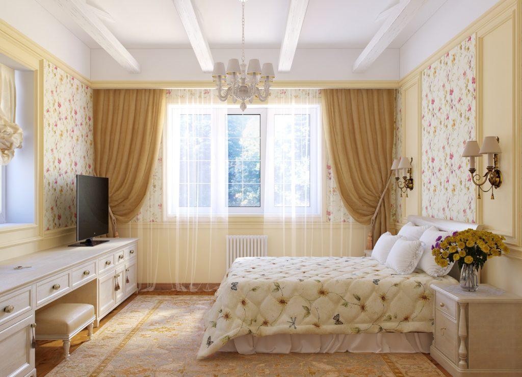 Бежевые и цветочные обои в спальне