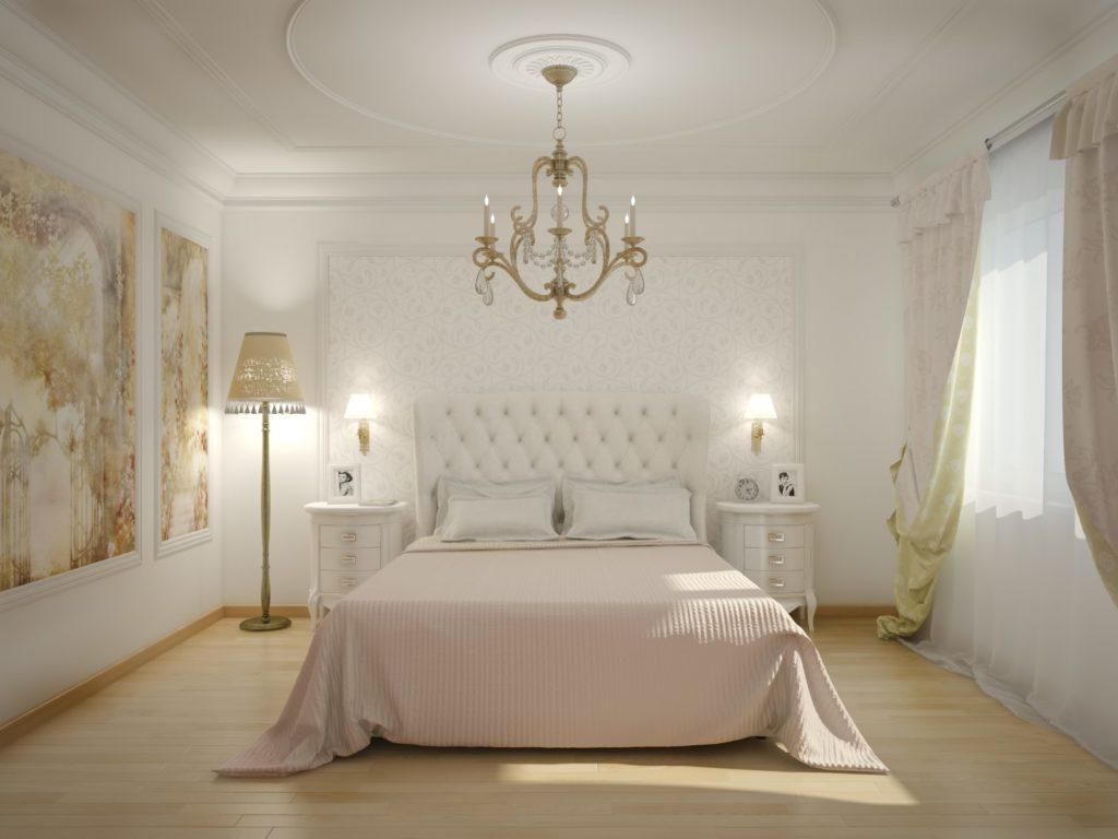 Белые обои с узором и однотонные в классической спальне